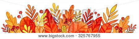 Autumn Stylized Leaves Border In A Watercolor Style. Bright Autumn Frame With Leaves And Berries Of