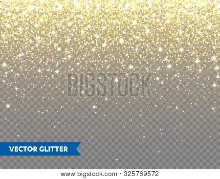 Sparkling Golden Glitter On Transparent Vector Background. Falling Shiny Confetti With Gold Shards.