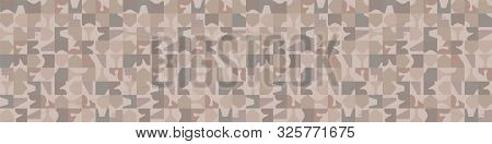 Hand Drawn Abstract Camouflage Seamless Border Pattern. Modern Homespun Brown, Gray, Ecru Neutral To