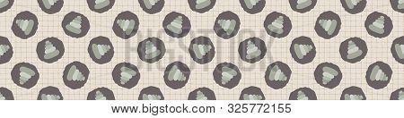 Hand Drawn Japanese Stone Stack Symbol Seamless Border Pattern. Soft Ecru Beige Neutral Tone Grid Ba