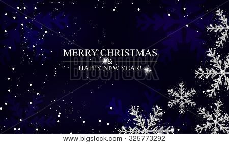 Christmas And New Year Navy Blue Background With Silver Snowflakes. Xmas Decoration. Template For Gr