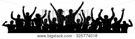 Crowd Cheer. People Celebrate Silhouette. People At A Disco Party Concert