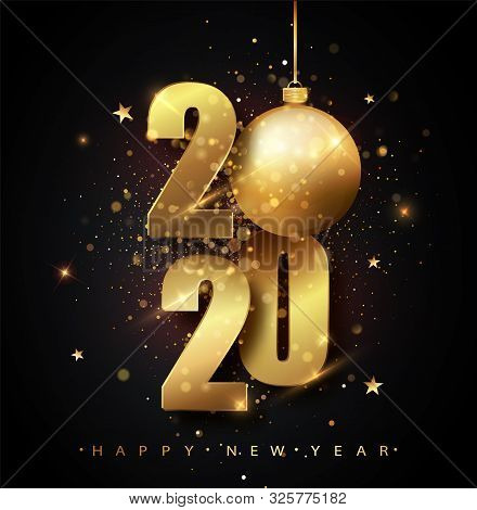 Happy New 2020 Year. Holiday Vector Illustration Of Golden Metallic Numbers 2020. Gold Numbers Desig