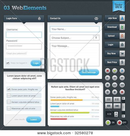Set of web forms and buttons