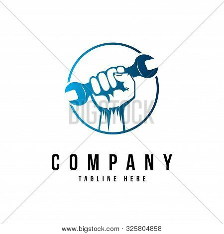 Hand With Wrench Symbol.icon For Reparation Logo Design Template