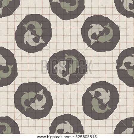 Hand Drawn Japanese Koi Carp Symbol Seamless Pattern. Soft Ecru Beige Neutral Tone On Grid Backgroun