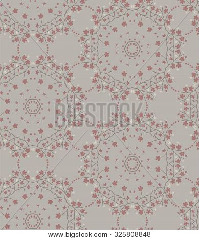 Hand Drawn Kaleidoscope Wagara Damask Seamless Pattern. Modern Japanese Motif, Hand Drawn In Soft Gr
