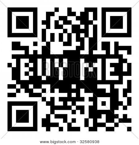 Simple modern qr code with buy me for shopping icon