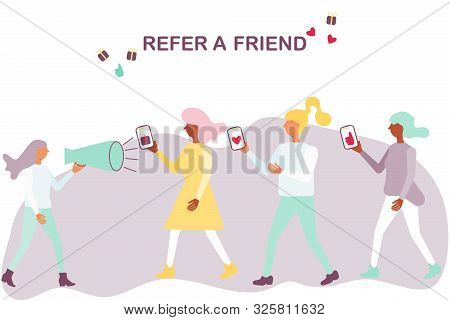 Word Of Mouth Advertising Refer A Friend Concept. Woman Shout In A Megaphone Refer A Friend And Peop