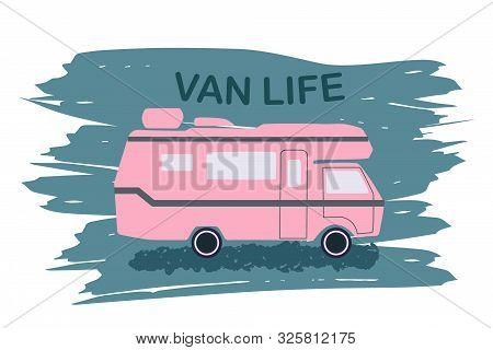 Van Life Pink Camper On Brush Stroke Background.