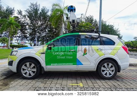 Labuan,malaysia-oct 4,2019:view Of The Google Maps Or Google Street View Car With 360° Camera On The