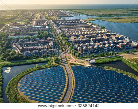 Modern Sustainable Neighbourhood In Almere, The Netherlands. The City Heating (stadswarmte) In The D