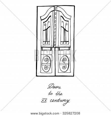 Vector old fashioned doors with carved cornice, decorated pilasters and door panels. Door in retro style isolated. poster