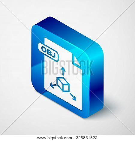 Isometric Obj File Document. Download Obj Button Icon Isolated On White Background. Obj File Symbol.