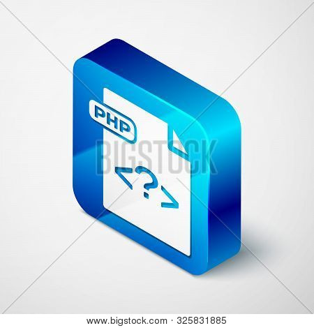 Isometric Php File Document. Download Php Button Icon Isolated On White Background. Php File Symbol.