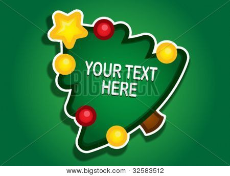 Christmas tree vector sticker / label