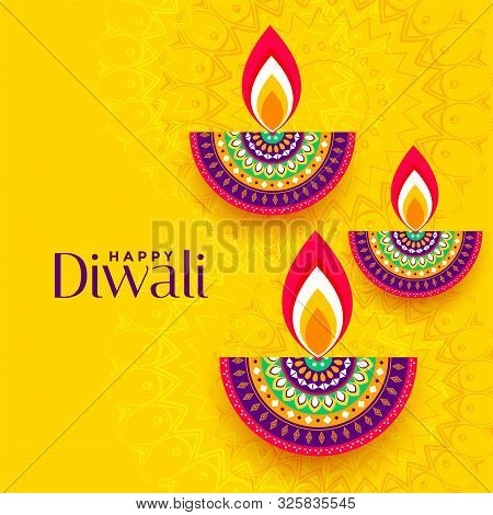 Decorative Colorful Three Diya Yellow Background Design