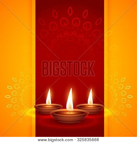 Three Realistic Diya Design For Diwali Festival Background