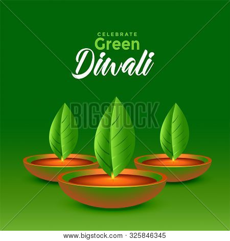 Happy Green Diwali Leaves Diya Eco Concept Background