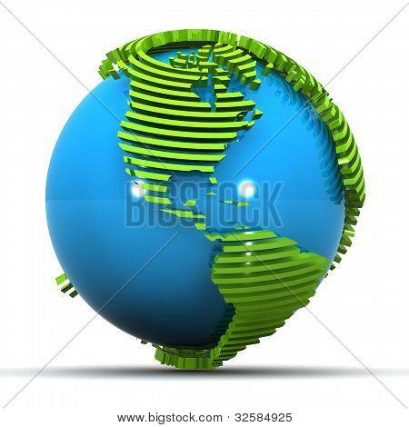 America Globe Concept