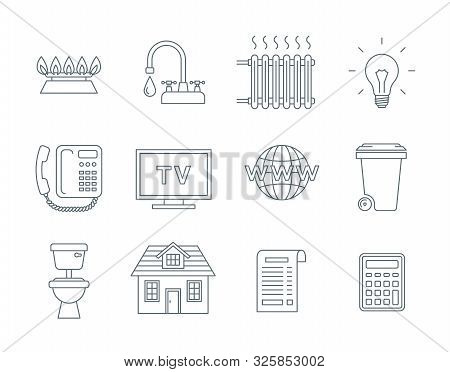 Household Services Utility Bill Icons. Vector Flat Thin Line Symbols Of Regular Payments Such As Gas