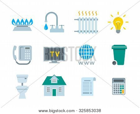 Household Services Utility Bill Icons. Vector Flat Symbols Of Regular Payments Such As Gas, Water, E