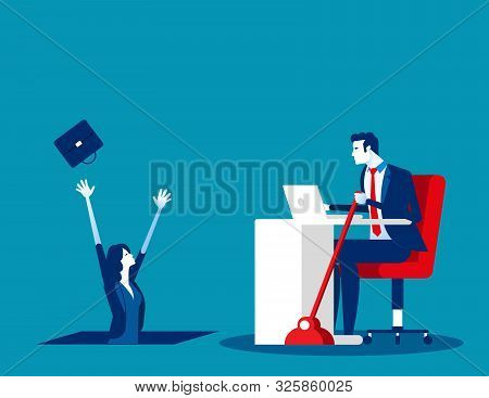 Business People And Job Insecurity. Concept Business Vector, Working, Unemployed, Fired.