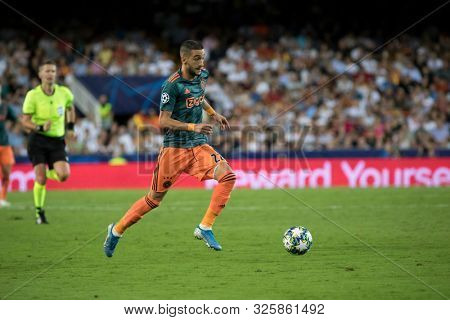 VALENCIA, SPAIN - OCTUBER 2: Ziyech during UEFA Champions League match between Valencia CF and AFC Ajax at Mestalla Stadium on Octuber 2, 2019 in Valencia, Spain