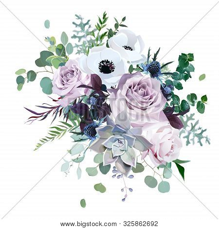 Dusty Violet Lavender, Mauve Antique Rose, Purple Pale Flowers, Brunia, White Anemone, Succulent Vec
