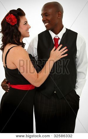Beautiful Interacial Couple Husband and Wife Dancing