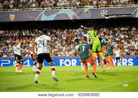 VALENCIA, SPAIN - OCTUBER 2: Corner kick during UEFA Champions League match between Valencia CF and AFC Ajax at Mestalla Stadium on Octuber 2, 2019 in Valencia, Spain