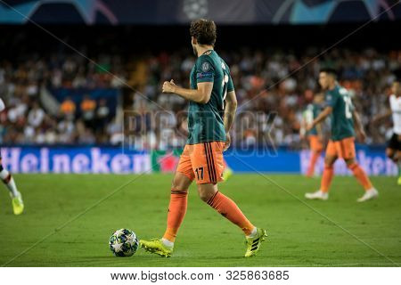 VALENCIA, SPAIN - OCTUBER 2: Blinf during UEFA Champions League match between Valencia CF and AFC Ajax at Mestalla Stadium on Octuber 2, 2019 in Valencia, Spain