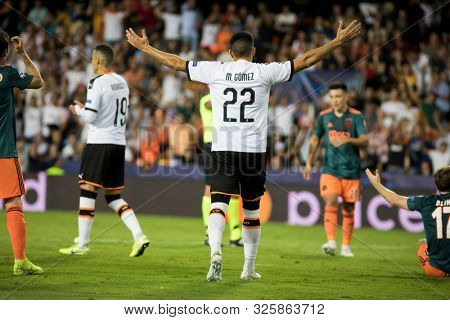 VALENCIA, SPAIN - OCTUBER 2: 22 Maxi Gomez during UEFA Champions League match between Valencia CF and AFC Ajax at Mestalla Stadium on Octuber 2, 2019 in Valencia, Spain