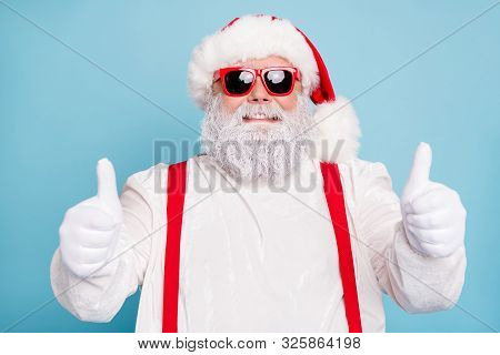 Close Up Photo Of Funny Funky Overweight Santa Claus In Modern Spectacles Show Thumb Up Sign Recomme