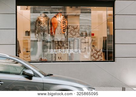 Burberry  London Store Boutique Display Window. Signboard Logo Brend Sign And Showcase Window Of Bur