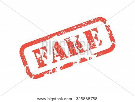 Red Stamp Inscription Fake For Documents Shabby, Flat