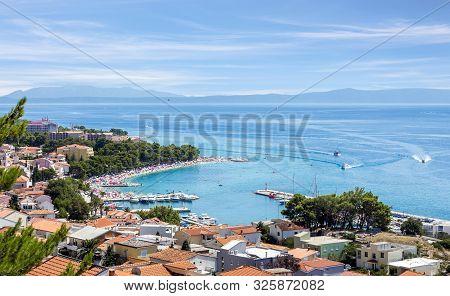 Aerial View Of Baska Voda Village, Beautiful Croatian Coast Seascape