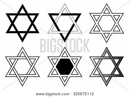 Set Of Editable Black And White Star Of David Vectors, The Religious Symbol Of Judaism, A Six-pointe