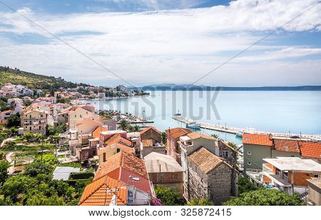 Aerial View Of Podgora Village, Beautiful Croatian Coast Seascape