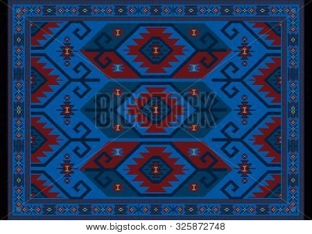 Vintage Luxury Oriental Carpet In Blue, Maroon Shades With Beige And Ultramarine Patterns On Black B