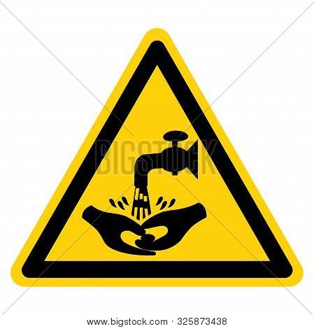 Warning Now Wash Your Hand Please Symbol Sign,vector Illustration, Isolated On White Background Labe