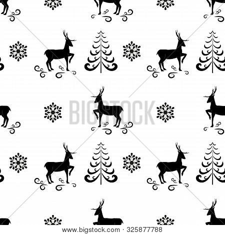 Deer And Christmas Tree Seamless Pattern. Fashion Graphic Background Design. Modern Stylish Abstract