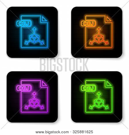 Glowing Neon Obj File Document. Download Obj Button Icon Isolated On White Background. Obj File Symb