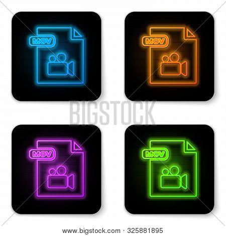 Glowing Neon Mov File Document. Download Mov Button Icon Isolated On White Background. Mov File Symb