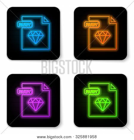 Glowing Neon Ruby File Document. Download Ruby Button Icon Isolated On White Background. Ruby File S