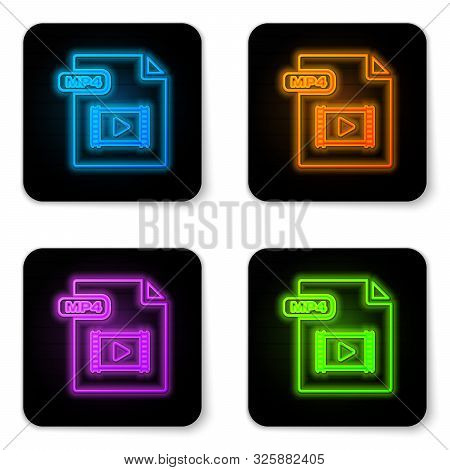 Glowing Neon Mp4 File Document. Download Mp4 Button Icon Isolated On White Background. Mp4 File Symb