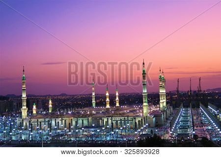 Wonderful View Of Masjid An Nabi Mosque With Beautiful Domes At Sunset. Travelling To Medina.