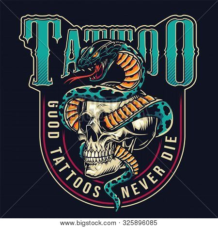 Vintage Tattoo Studio Colorful Label With Snake Entwined With Skull On Dark Background Isolated Vect