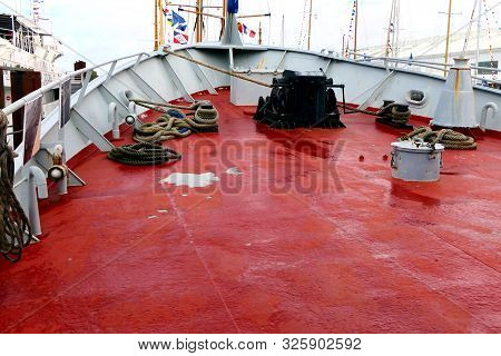 Prow Of A Fishing Trawler Showing The Cable Winch And Various Ropes