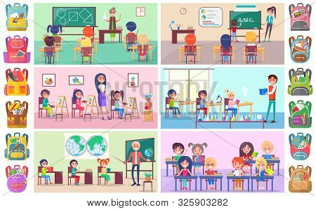 Teacher And Pupils In Classroom, Classmates Studying. Backpack Sticker, Girl And Boy Sitting At Desk